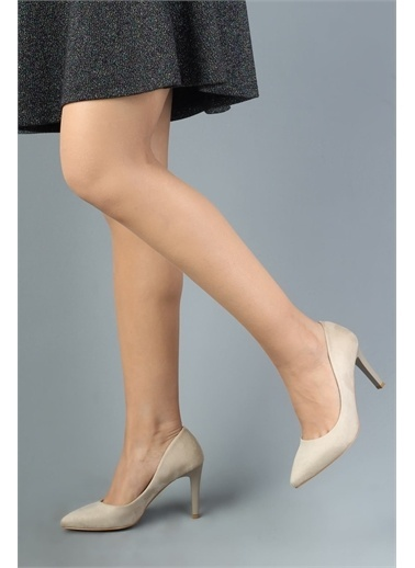 Modabuymus Modabuymus  Süet Stiletto Topuklu Ayakkabı - Anger Bej